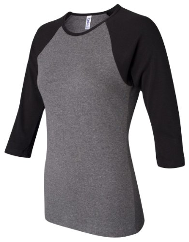 Bella+Canvas Ladies' Baby Rib 3/4-Sleeve Contrast Raglan Tee - Deep Heather/ Black - 2XL