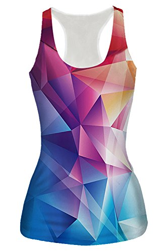 Activewear Sleeveless Tees - Women's Tank Top Funny Cute Rainbow Diamond Geometric 3D Printed Running Racerback Blouse Casual Yoga Shirt Gym Workout Activewear Sleeveless T-Shirt 80s 90s Clothing