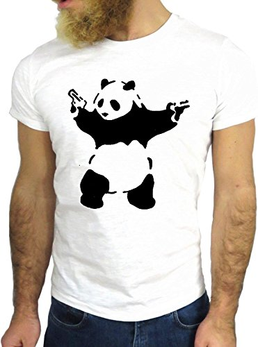 T SHIRT JODE Z3172 AGGRESSIVE PANDA CHINA COOL GUNS ROCK ANIMAL PET WILDEGGG24 BIANCA - WHITE S