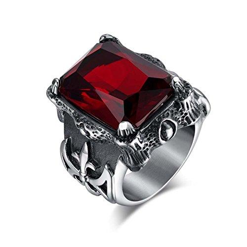 [Cheo Rish Men's Titanium Steel Vintage Ruby Ring] (Mens Dallas Cowboy Football Costumes)