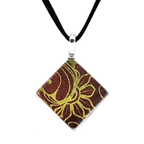 Venetian Glass Square Pendant (Hand Blown Venetian Murano Glass Glitter Golden Red Flower Art Square Pendant Necklace, 17-19 inches)
