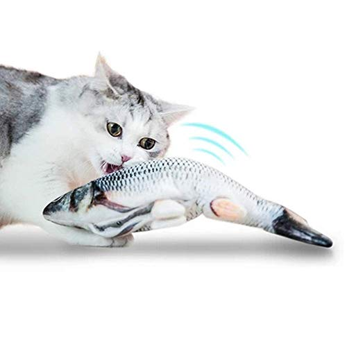 Realistic Plush Simulation Electric Doll Fish, Funny Interactive Pets Chew Bite Supplies for Cat/Kitty/Kitten Fish Flop Cat Toy Catnip Toys - Perfect for Biting, Chewing and Kicking (B) 5
