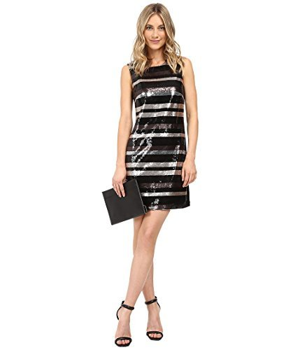 Shelli Segal Stripe - Laundry by Shelli Segal Women's Stripe Sequin Dress Black Dress