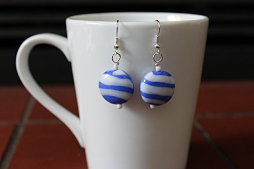 Snow and Ice (Blue and White Swirled Glass Earrings)