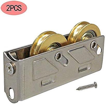 wheel Poleas para Puertas y Ventanas de aleación de Aluminio, Ventanas corredizas de Vidrio, Ruedas Dobles de Acero Inoxidable de Cobre, 1 Paquete de 2 Piezas.: Amazon.es: Hogar