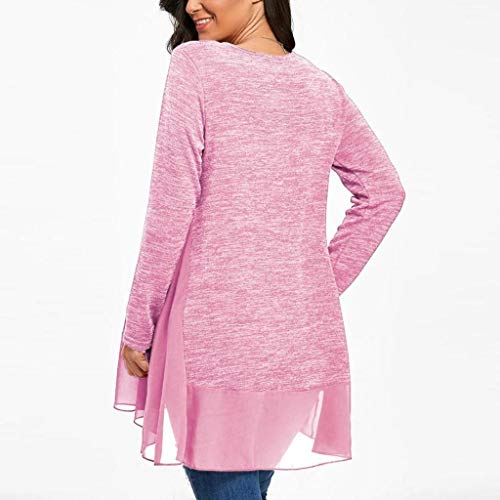 Chemise T de Shirt Courte Rose Femme Soie Mousseline Longues Trydoit Bleu Manche Femme en Manches dzBwndq0