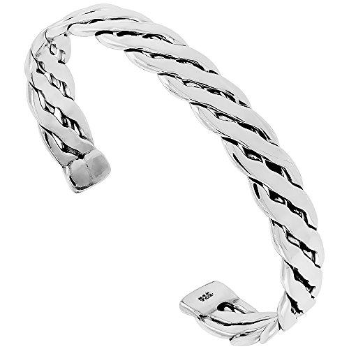 Sterling Silver Braided Wire Cuff Bracelet Handmade