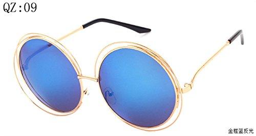 2017 Vintage Round Big Size Oversized lens Mirror Brand Designer Sunglasses,Golden frame blue reflective, Lady Cool Retro UV400 Women SunGlasses - Sunglasses Floral Ban Ray