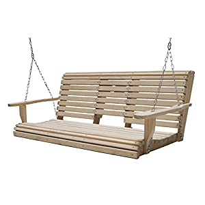 Ecommersify 5-Feet Cypress Roll Back Porch Swing with Flip Cup Holder Console
