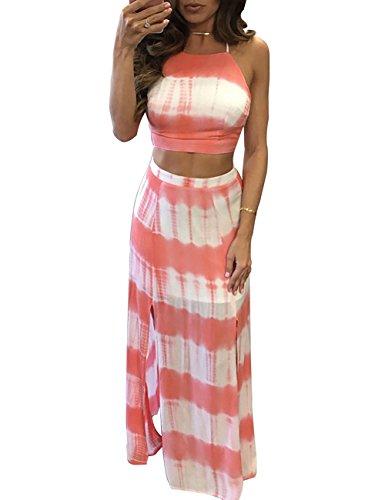 Womens Stripe Tie Dye Two Piece Crop Top and Slit Maxi Skirt Set Dress Pink M