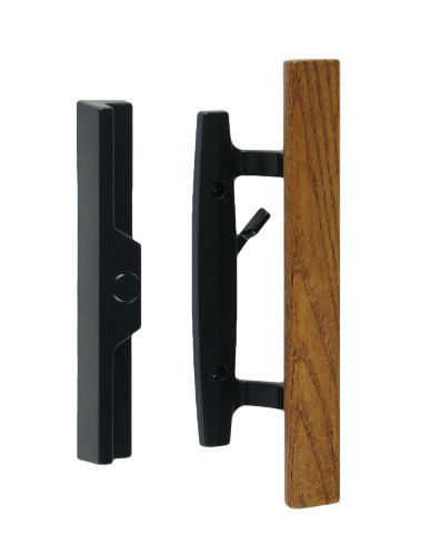 "Lanai Sliding Glass Door Handle and Mortise Lock Set with Oak Wood Pull in Black Finish, Standard 3-15/16"" CTC Screw Holes, 1-3/4"" Door Thickness"