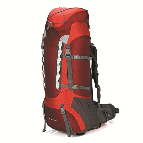 Outdoor Mountaineering Backpack Unisex 70L Large Capacity Hiking Camping Backpack (Orange-red)
