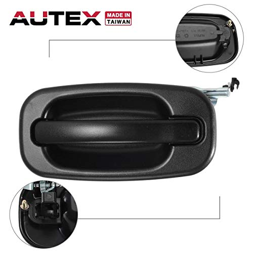 AUTEX Exterior Door Handle Driver Side Rear Left Compatible with Cadillac Escalade Tahoe Yukon,Chevrolet Avalanche Silverado Suburban,GMC Sierra 1999 2000 2001 2002 2003 2004 2005 2006 2007 80579