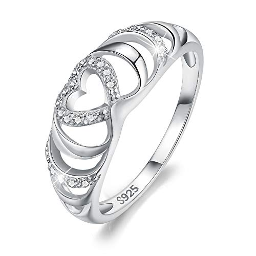 Esberry 18K Gold Plating 925 Sterling Silver CZ Endless Love Heart Stacking Rings Eternity Cubic Zirconia Ring Engagement Wedding Bands for Women (White Gold, 6)