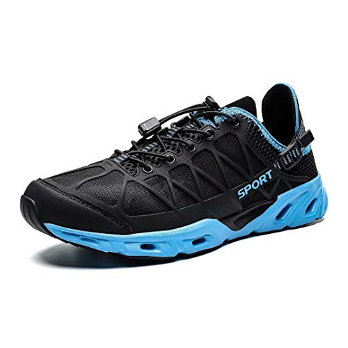 KEEZMZ Mens Womens Quick Drying Aqua Water Shoes for Sports Walking Outdoor Running Hiking Beach Swim Surf Diving Boating Fishing Black/Blue44 (Mens Sports Wears)