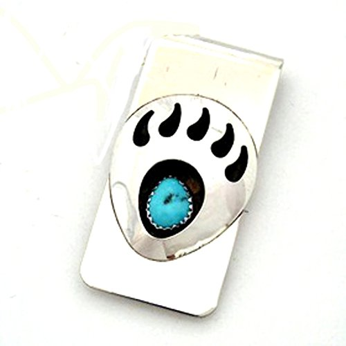Navajo Bear - RC Native American Hand Crafted Money Clip with Bear Paw Claw Blue