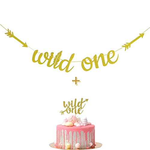 Fadilo Wild One Gold Glitter Banner Sign with Wild One Cake Topper for Wild One Boho Tribal Themed First Birthday Party