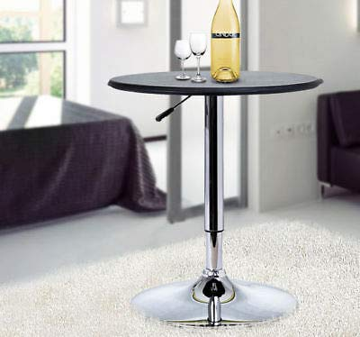 Faux Leather Top Bistro Pub Table Adjustable Swivel Counter Home Black