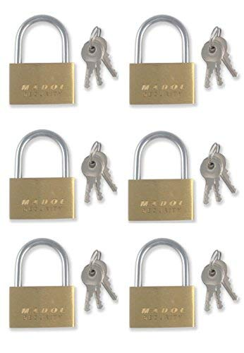 (25mm Small Mini Brass Padlock with Brass Chromed Keys PACK of 6 all Keyed DIFFERENT [625KD-6] Mini Tiny Locks Keyed DIFFERENT for Jewelry Box or suitcases and even diaries)
