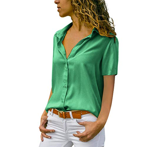 NCCIYAZ Womens T-Shirt Tops Plus Size Solid Short Sleeve Office Daily Casual Ladies Plain Blouse(14,Green)