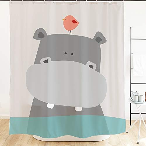 Orange Design Cute Hippo Kids Shower Curtains, Animal Baby River Horse Bird Ocean Kids Fabric Waterproof Mildew Resistant Shower Curtains for Bathroom Sets with Metal Hooks 71x71, Teal White Grey