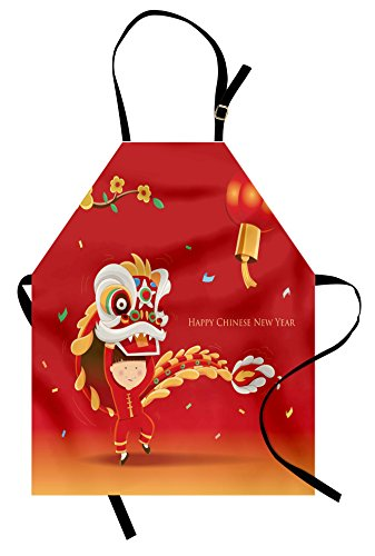 Ambesonne Chinese New Year Apron, Little Boy Performing Lion Dance with The Costume Flowering Branch Lantern, Unisex Kitchen Bib Apron with Adjustable Neck for Cooking Baking Gardening, -