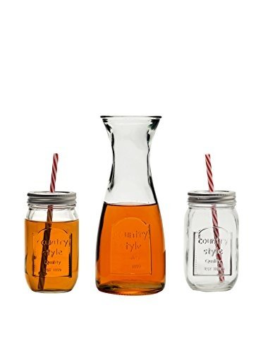 Glass Mason Jar Mugs with Metal Lids and Strong Reusable Straws with Matching 33.8 Ounce Glass Carafe, 13 Piece Set, Cups Are 16 Oz