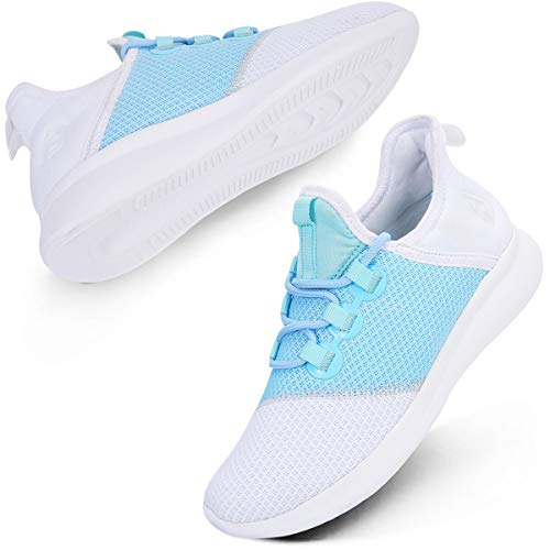 Scurtain Womens Running Shoes Breathable Mesh Athletic Gym Walking Shoes Blue and White 5.5M US