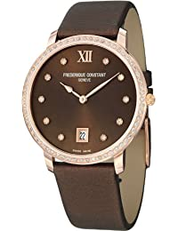 Slimline Brown Dial Satin Strap Ladies Watch FC-220C4SD34