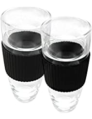 Epicureanist- Set of 2 OVERSIZED 14 oz Double Walled Glass Chilling Tumblers with a Cooling Gel Center