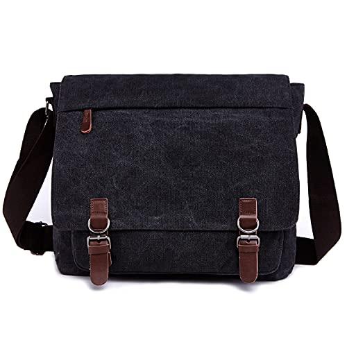 Canvas Messenger Bag for Men Women,Travel Satchel Shoulder bag 15.6 Inch Laptop Bag briefcase Business