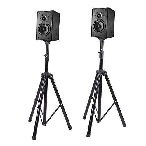 XuanYue A Pair Speaker Stands Adjustable Height(3ft to 6ft) Tripod Home/Stage/Studio Speaker Mount Holder, Professional Heavy-duty Tripod Structure, Speaker Stand Extension by XuanYue