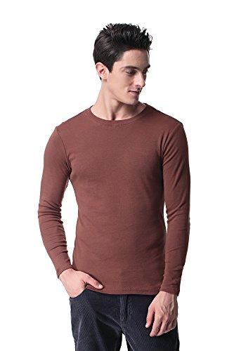 Pau1Hami1ton T-09 Mens Long Sleeve T Shirt Casual Skinny Fit Cotton Crew Neck(L, Brown)