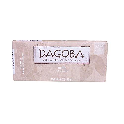 Dagoba Organic Chocolate Bar - Milk Chocolate - 37 Percent Cacao - 2 oz Bars - Case of 12 (Percent 37 Chocolates)