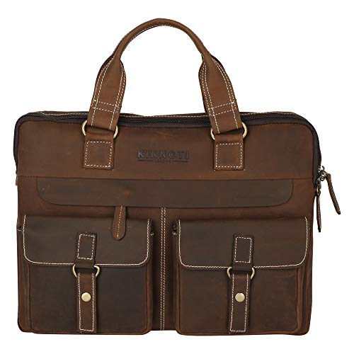 KINNOTI -Genuine Leather Light Weight Laptop Travel Shoulder Waterproof Messenger Bag Compatible for 15 Inches Laptop for Men and Women Casual Office Travel & Business
