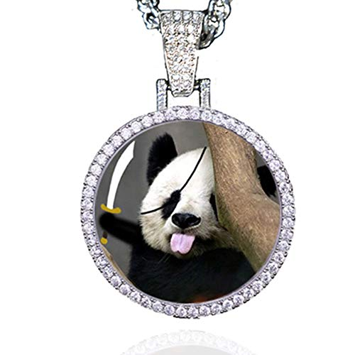 Dream Fly Personalized Photo Necklace Custom Photo Pendant Personalized Locket Necklace Gold Silver Hip Hop Jewelry with Cubic Zirconia for Men and Women, 18in, 20in, 24in and 30in Chain (Silver, 18)