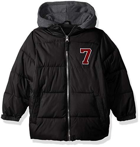 iXtreme Boys' Little' Puffer Jacket with Fleece Hood, Black, 6