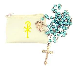 Catholic Women or Girls Aqua Glass Bead Rosary with White Zipper Vinyl Case