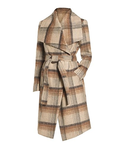 BCBGeneration Women's Camel Plaid Wrap Coat (S)
