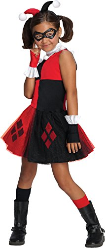 DC Super Villain Collection Harley Quinn Girl's Costume with Tutu Dress, Small - Super Villain Halloween Costumes