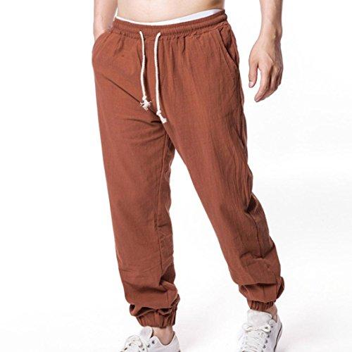 Pas Café Slim Homme Trousers yanho® Lin Pants Poche Été Chino Pantalon Fluide Casual Cargo Droit Pantalons Yanhoo Clothes Jogging A Cher q1TR77