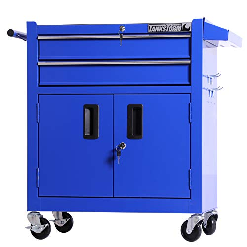 TANKSTORM Tool Chest Heavy Duty Cart Steel Rolling Tool Box with Lockable Drawers and Doors (TZ12A Blue) by TANKSTORM (Image #6)