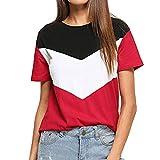 Sunyastor Women's Summer Triple Color Block Blouse Short Sleeve Loose Fit Casual Tee Shirts Top Tshirt Casual Blouse Tunic