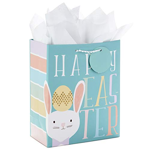 Hallmark Medium Easter Gift Bag with Tissue Paper (Teal, Easter Bunny)]()