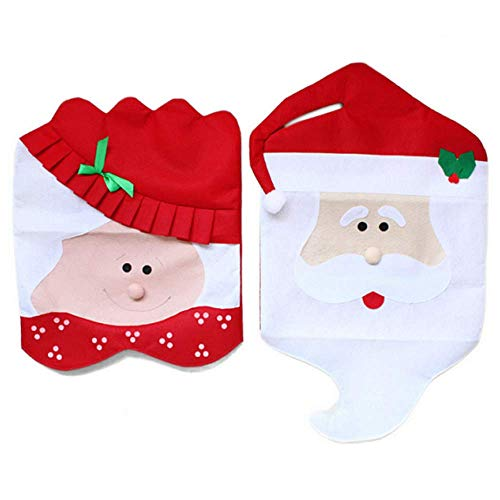 Christmas Red Santa Hat Chair Covers Featuring Mr and Mrs Santa Claus for Halloween Christmas Kitchen Dining Room Dinner Decor,(1-Pair)
