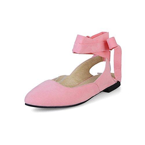 AdeeSu Womens Flats-Sandals Closed-Toe Bungee Ankle-Wrap Heeled Road Manmade Nubuck Cushioning Pointed-Toe Urethane Flats Sandals SLC03545 Pink BnEiK5