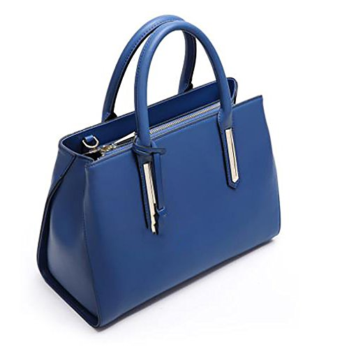 Tamaño Bolso azul Mano de Mediano Azul para Piel de SXMAN Mujer dP0vq1