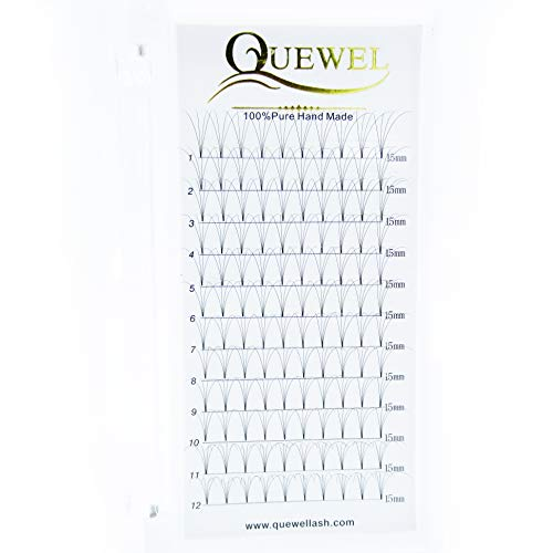 Russian Volume Premade Fans Eyelashes Extension 4D Thickness 0.07/0.10 Curl C/D Length 8-18mm by Quewel (4D-0.07-D, 15mm)