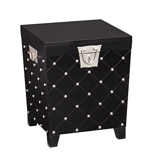 Southern Enterprises Nailhead End Table Storage Trunk, Black and Satin Silver Finish