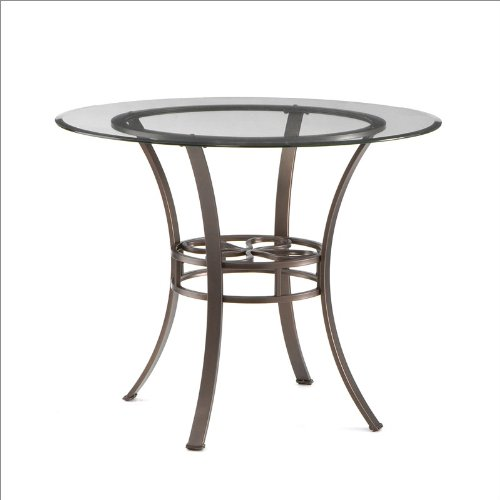 Southern Enterprises Savannah Round Dining Table in Brown with Glass Top